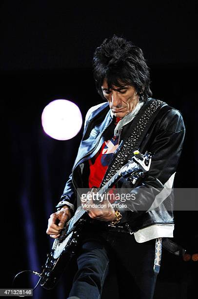 The guitarist and bassist Ronnie Wood of the British band The Rolling Stones during a concert at the Olympic Stadium Rome July 6 2007
