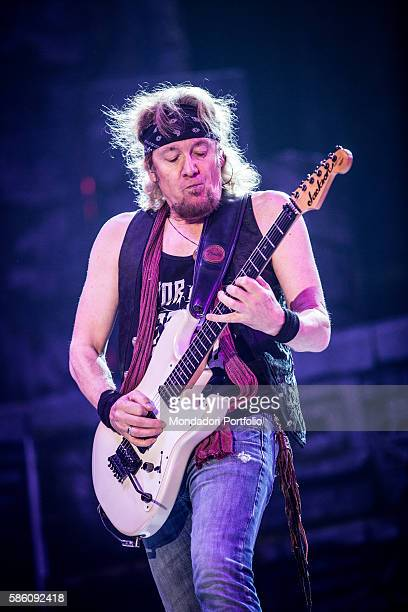 The guitarist of the band Iron Maiden Adrian Smith in concert at Mediolanum Forum of Assago Assago Italy 22nd July 2016