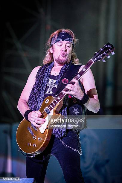 The guitarist of the band Iron Maiden Adrian Smith in concert for the Rock in Idro Festival at the Arena Parco Nord in Bologna Bologna Italy 1st June...
