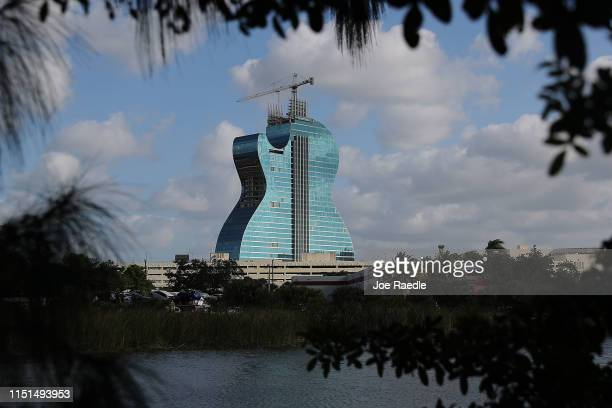 The guitar-shaped 400-foot-tall Hard Rock Hotel is seen as it is under construction on May 24, 2019 in Hollywood, Florida. The 638-room hotel is part...