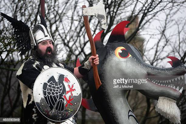 The Guizer Jarl Ivor Cluness and his Jarl Squad march through the streets of Lerwick on January 28 in the Shetland Islands Scotland The traditional...