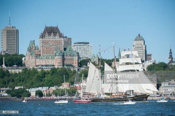 The Gulden Leeuw sails out of the harbour during the tall ships parade in Quebec City on July 23 2017 The Quebec City and Levis rallying point is a...