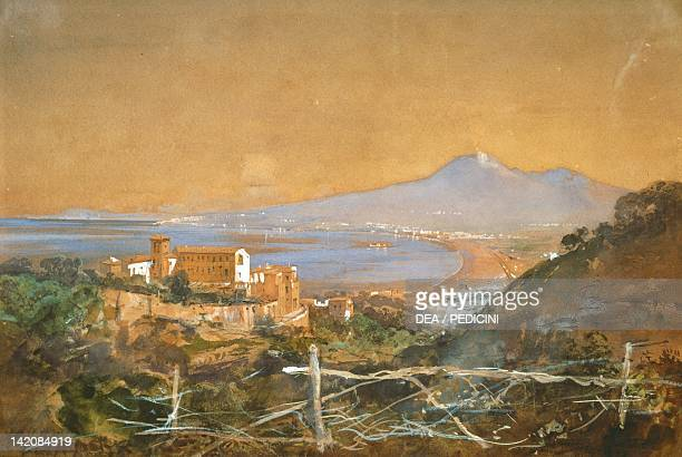 The Gulf of Naples by Giacinto Gigante watercolour Italy 19th century7x257 cm