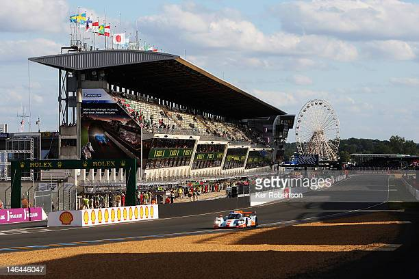 The Gulf Racing Middle East Lola Nissan of Fabien Giroix Maxime Jousse and Stefan Johansson drives along the main straight during the Le Mans 24 Hour...