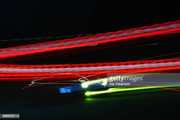 The Gulf Racing Porsche 911 of Michael Wainwright Ben Barker and Nick Foster drives during qualifying for the Le Mans 24 Hours race at the Circuit de...