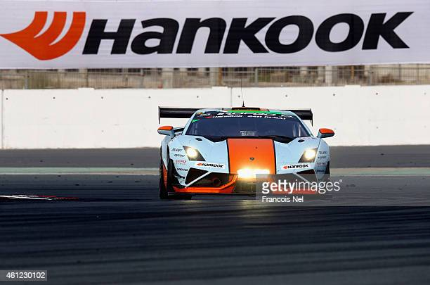 The Gulf Racing UK Lamborghini Gallarado LP560 GT3 driven by Roald Goethe of Germany Stuart Hall of England Frederic Fatien and Jamie CambellWalter...