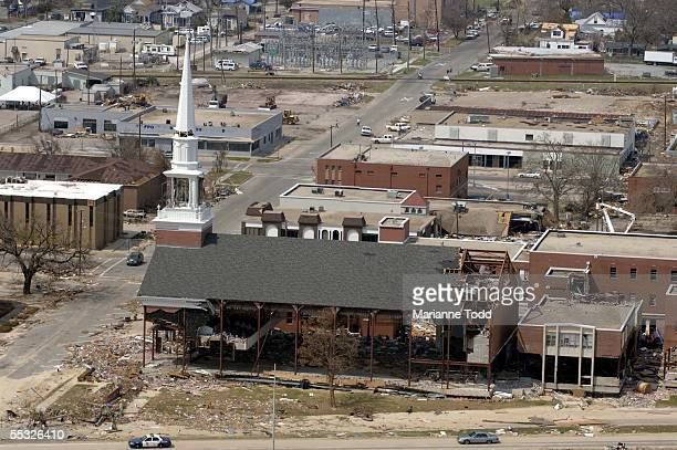The Gulfport Baptist Church sits in ruins gutted by Hurricane Katrina September 9 2005 in downtown Biloxi Mississippi Damage from the storm is...