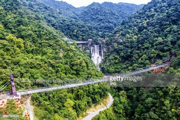 The Gulong canyon high altitude glass bridge officially run on 28 June 2018 in Qingyuan Guangdong China