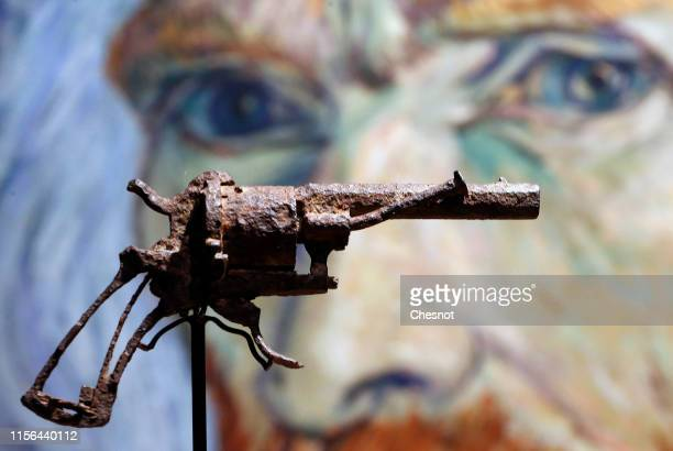 The gun believed to be used by Dutch painter Vincent Van Gogh to shoot himself in AuverssurOise is displayed by Drouot auction house on June 17 2019...