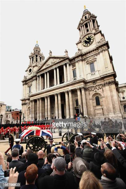 The Gun Carriage of The King's Troop Royal Horse Artillery carries the coffin of Former British Prime Minister Baroness Thatcher towards St Paul's...