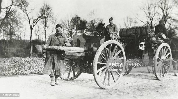 The gun that fired the first American shot at Sommerville, near Nancy, October 23, 1917.