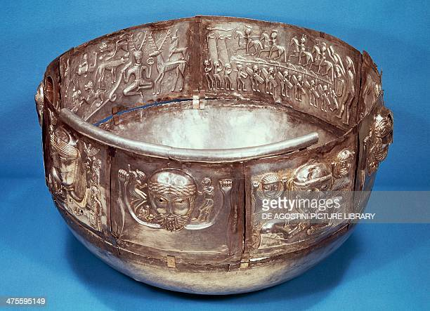 The Gundestrup Cauldron made from decorated silver panels found in a peat bog in Himmerland Jutland Denmark Celtic civilisation 2nd century BC...