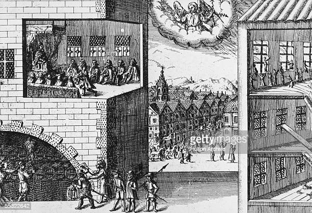 The Gunpowder Plot of 1605, taken from a contemporary Dutch print. Heaven guides the authorities to arrest conspirator Guy Fawkes as he attempts to...