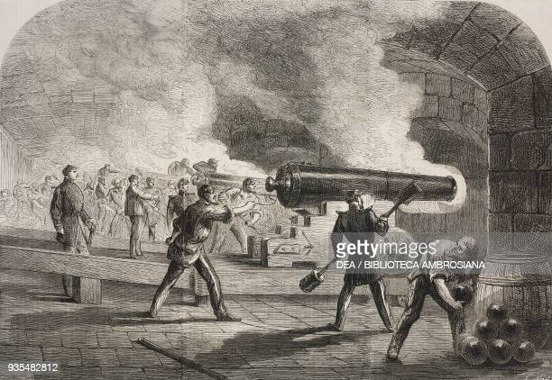 The guns of the main battery of Fort Sumter beat Fort Moultrie and the channel April 12 American Civil War illustration from the magazine The...