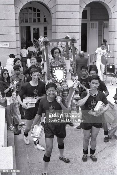 The Gurkha Transport Regiment winner of the annual sedan chair race to raise funds for the Matilda Hospital 08OCT77
