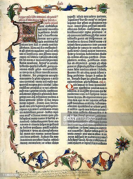 The Gutenberg Bible First major book printed with a movable type printing press marking the start of the Gutenberg Revolution and the age of the...