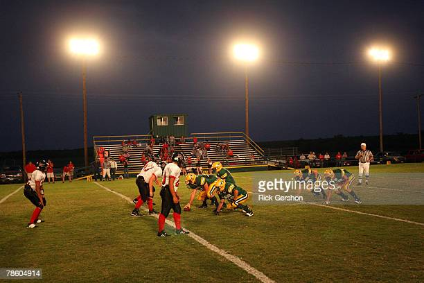 The Guthrie Jaguars line up against the Patton Springs Rangers during their six man football matchup on October 11 2007 in Guthrie Texas Without six...