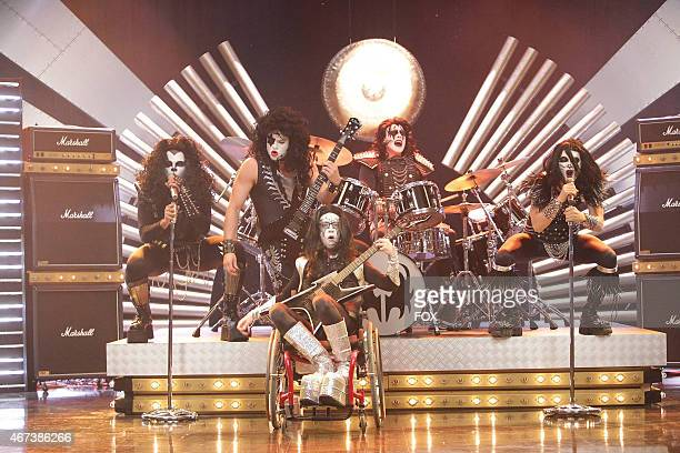 """The guys perform KISS in the """"Theatricality"""" episode of GLEE airing Tuesday, May 25 on FOX. Pictured L-R: Dijon Talton, Mark Salling, Kevin McHale,..."""