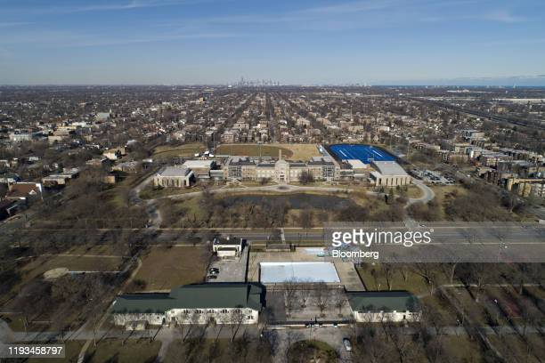 The Gwendolyn Brooks College Preparatory Academy High School complex stands in this aerial photograph taken over Chicago Illinois US on Wednesday Jan...