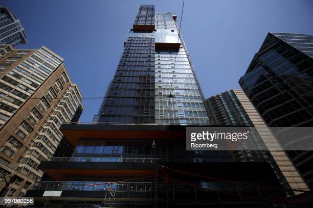The GWL Realty Advisors Livmore luxury apartment building stands under construction in Toronto Ontario Canada on Tuesday July 10 2018 Toronto's...