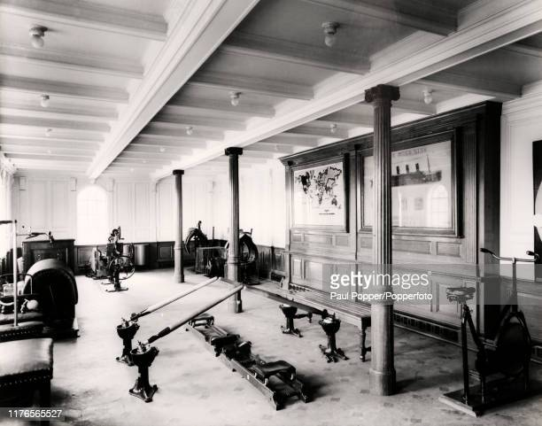 The gymnasium onboard the White Star Line's RMS Titanic circa 1912