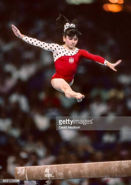 Alicia Fernandez of Spain performs on the balance beam during the gymnastics competition of the 1990 Goodwill Games held from July 20 August 5 1990...