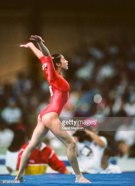 Wenjing Wang of China competes in the floor exercise event of the gymnastics competition of the 1990 Goodwill Games held from July 20 August 5 1990...