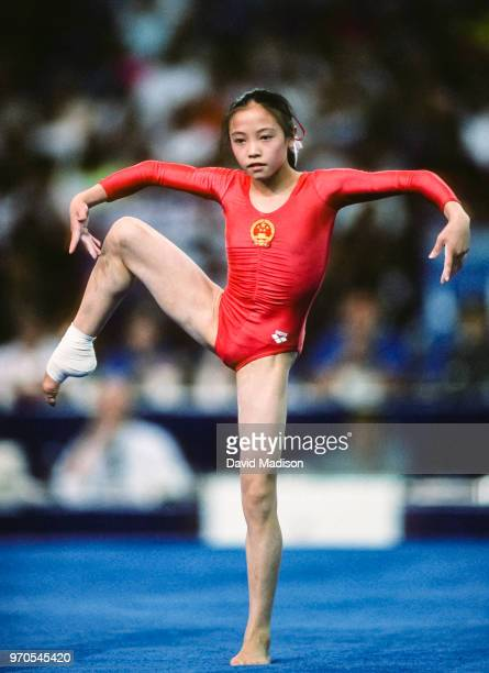 Wenning Zhang of China competes in the floor exercise event of the gymnastics competition of the 1990 Goodwill Games held from July 20 August 5 1990...