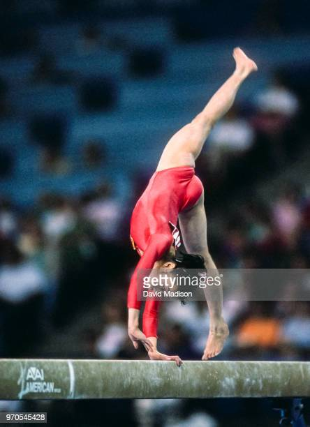 Li Li of China competes in the balance beam event of the gymnastics competition of the 1990 Goodwill Games held from July 20 August 5 1990 The...
