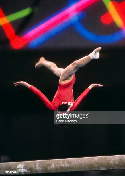 Wenning Zhang of China competes in the balance beam event of the gymnastics competition of the 1990 Goodwill Games held from July 20 August 5 1990...