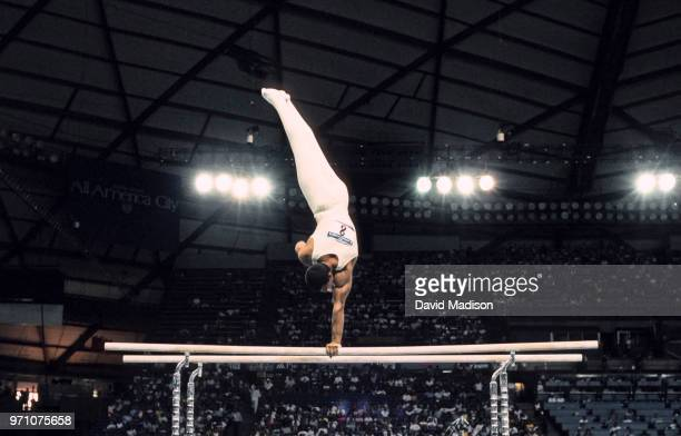 Toth Balazs of Hungary performs on the parallel bars during the gymnastics competition of the 1990 Goodwill Games held from July 20 August 5 1990 The...