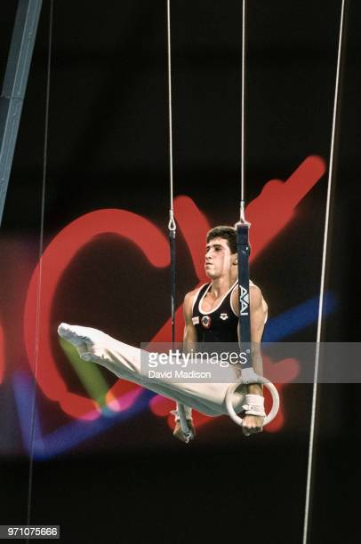 Valerie Belenki of the USSR performs on the still rings during the gymnastics competition of the 1990 Goodwill Games held from July 20 August 5 1990...
