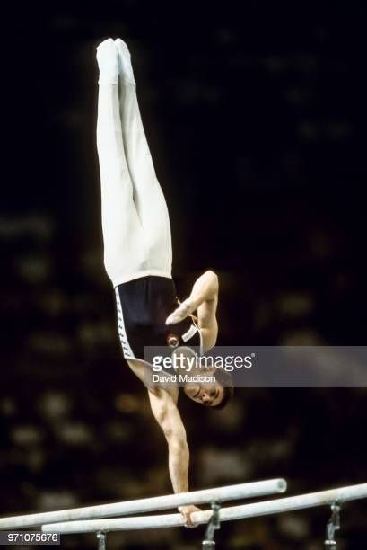 Valerie Belenki of the USSR performs on the parallel bars during the gymnastics competition of the 1990 Goodwill Games held from July 20 August 5...