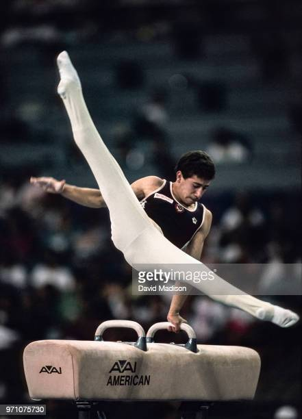 Valerie Belenki of the USSR performs on the pommel horse during the gymnastics competition of the 1990 Goodwill Games held from July 20 August 5 1990...