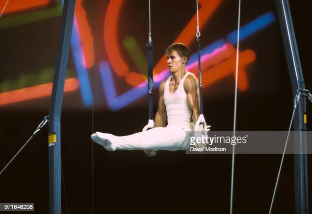 Alexandru Ciuca of Romania performs on the still rings during the gymnastics competition of the 1990 Goodwill Games held from July 20 August 5 1990...
