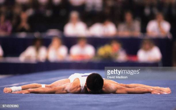 Shinji Gamou of Japan performs in the floor exercise during the Men's Gymnastics competition of the 1990 Goodwill Games held from July 20 August 5...