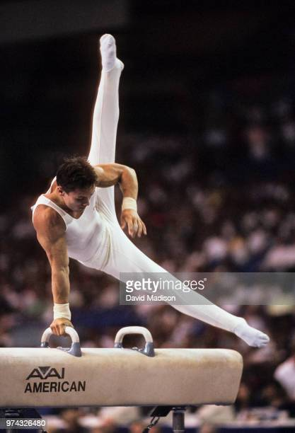 Csaba Fajkusz of Hungary performs on the pommel horse during the Men's Gymnastics competition of the 1990 Goodwill Games held from July 20 August 5...
