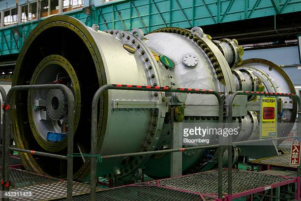 The H25 gas turbine stands in the assembly section of Hitachi Ltd's Kaigan factory of Hitachi Works in Hitachi Ibaraki Prefecture Japan on Wednesday...