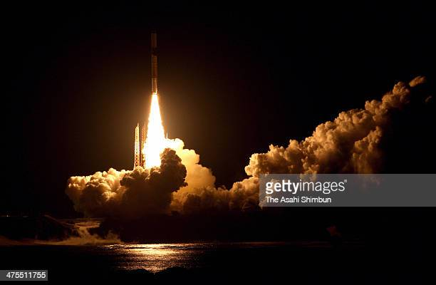 The H2A Launch Vehicle No 23 carrying the Global Precipitation Measurement core observatory onboard lifts off from the Japan Aerospace Exploration...
