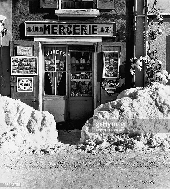 The haberdashery store of miss Gagniere during winter, 1962 in Laffrey, France.
