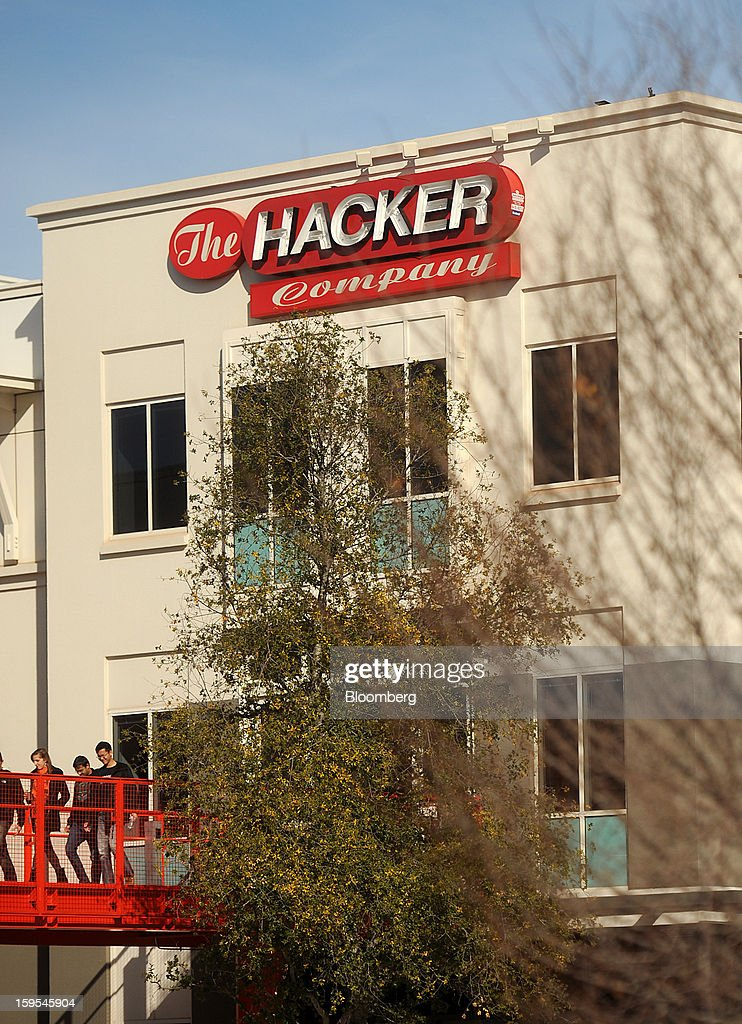 'The Hacker Company' is displayed atop Facebook headquarters in Menlo Park, California, U.S., on Tuesday, Jan. 15, 2013. Facebook Inc. introduced a search tool for its social network of more than 1 billion users, seeking to improve features to attact more users and advertisers. Photographer: Noah Berger/Bloomberg via Getty Images