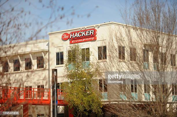 'The Hacker Company' is displayed atop Facebook headquarters in Menlo Park California US on Tuesday Jan 15 2013 Facebook Inc introduced a search tool...