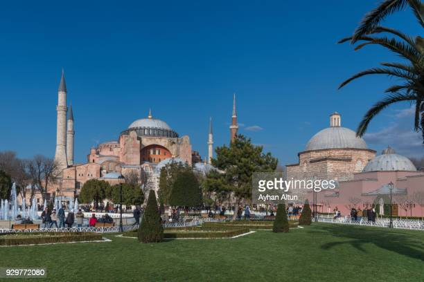 The Hagia Sophia and Baths of Haseki Hurrem Sultan in Sultanahmet Square,Fatih District of Istanbul,Turkey