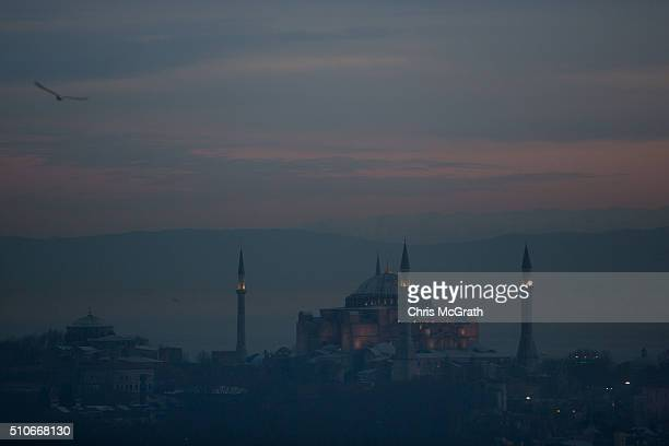 The Hagia Sophia is seen at sunset on February 16 2016 in Istanbul Turkey Istanbul is famous for its skyline dotted with historic mosques it is home...