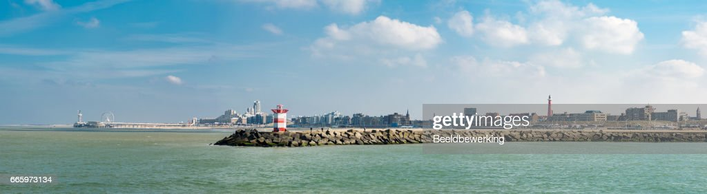 the hague beach and harbor panorama : Stock Photo