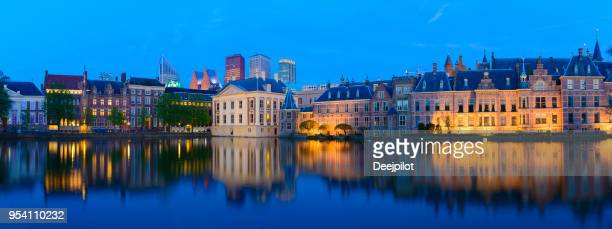 The Hague Downtown City Skyline and Parliament Buildings at Twilight, Netherlands