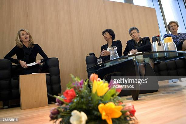 Dutch Prinses Mabel van Oranje Gabrielle Kirk McDonald Elizabeth Odio Benito and Rosalyn Higgins during the Forum in occasion of the International...