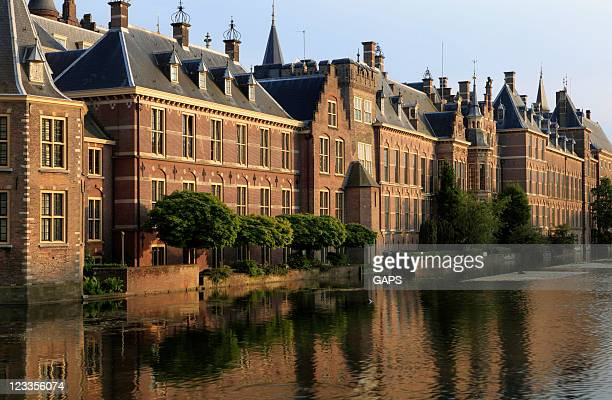 the hague parliament building near the water - the hague stock photos and pictures