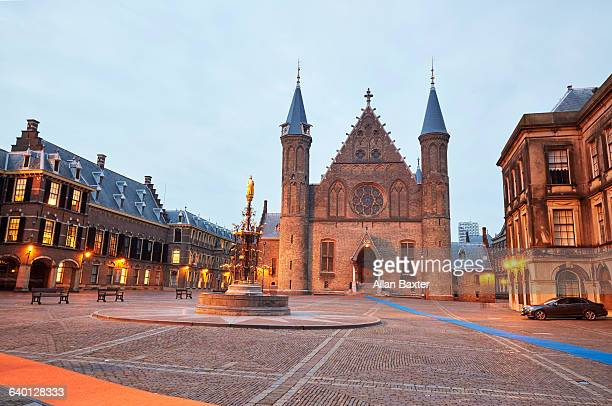 The Hague's Binnenhof illuminated at dusk