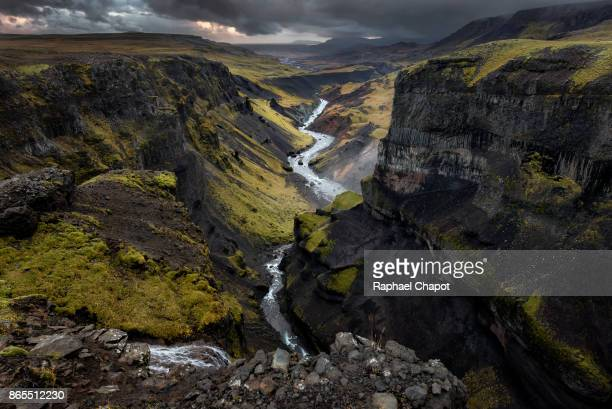 The Haifoss valley at sunset - Iceland